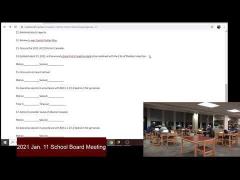 Madison Central School District School Board Meeting Jan 11th 2021