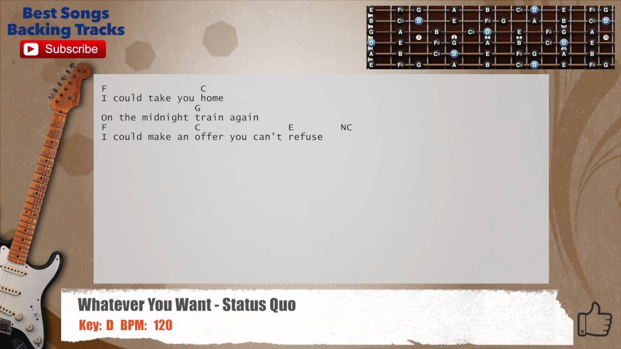 Whatever You Want Status Quo Guitar Backing Track With Chords And