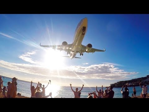 Plane Spotting at Saint Maarten Airport, Caribbean- Sunset Arrivals and Departures -Maho Beach