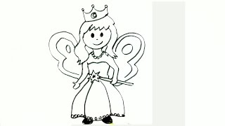 How to draw a Little Fairy- in easy steps for children. beginners
