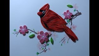 Bird and Flower Paper Quilling #Q - Handmade Quilling Card with Paper ART
