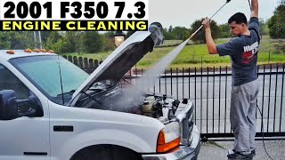 2001 Ford F350 7.3 - Engine Bay Cleaning - What a Filthy Dirty Oily Disgusting Junk lol