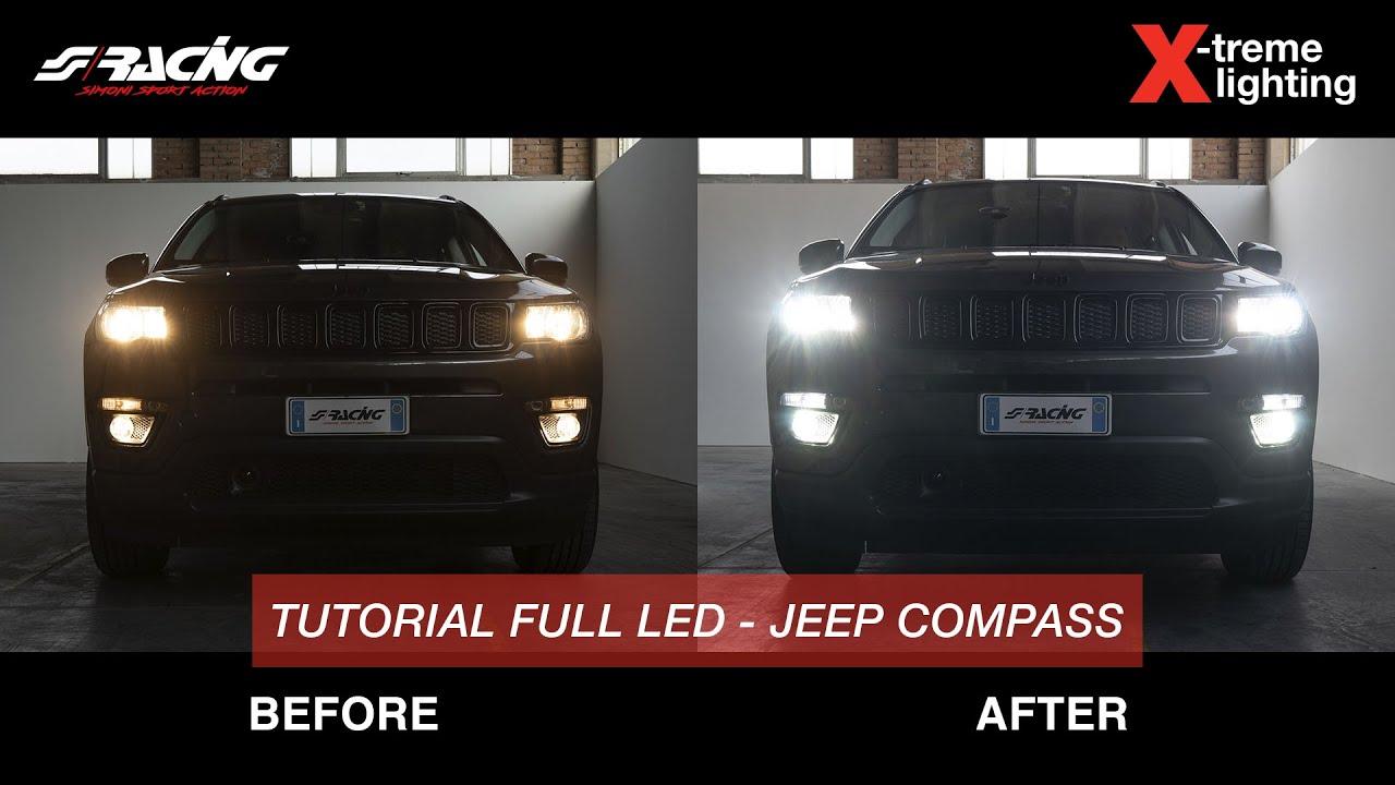 Ita Jeep Compass Conversione Led E Alogena Simoni Racing Youtube