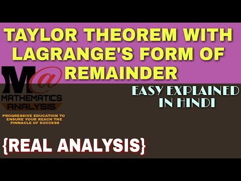 TAYLOR THEOREM PROOF || TAYLOR THEOREM WITH LAGRANGE'S FORM OF REMAINDER 🔥