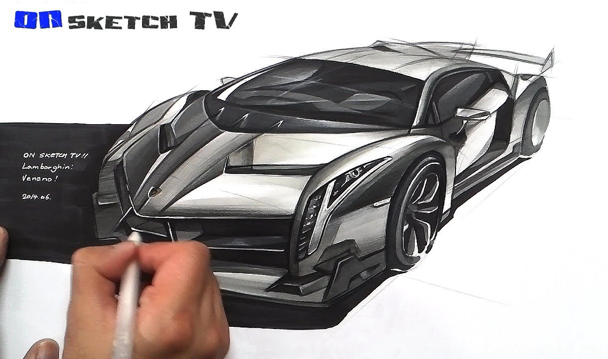 온스케치 Tv Car Sketch Lamborghini Veneno Sketch Color Pencil Ad