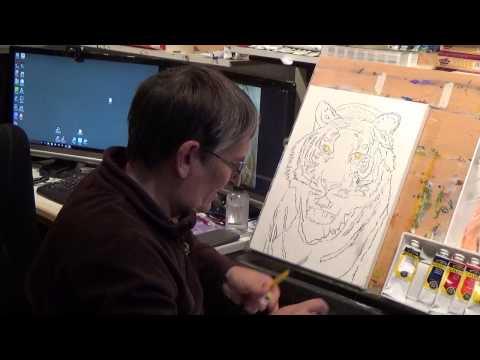 Julie's Studio - Tiger Painting (A nice Portrait of Elena) - Part 1
