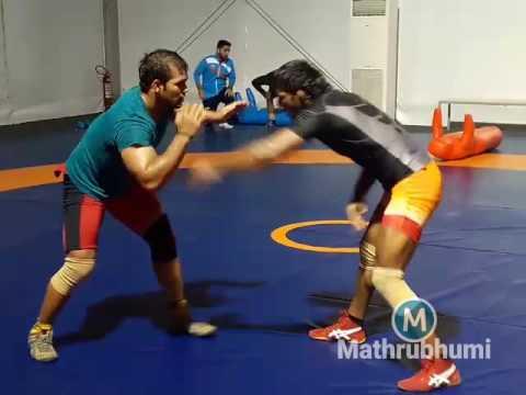 Wrestlers Narsingh Yadav and Yogeshwar Dutt Practicising At Rio