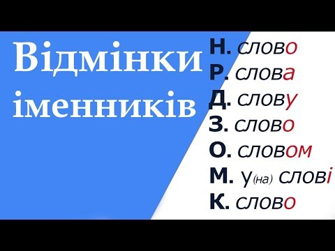 Відмінки іменників, їхнє значення. Відмінювання іменників в українській мові.