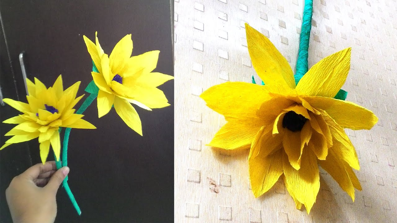 How To Make Sunflower With Paper Diy Crepe Paper Flower Youtube