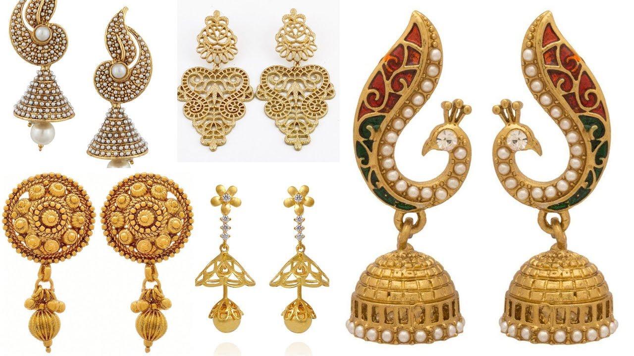 1 gm Gold Earrings Designs | One Gram Gold Jewellery ...