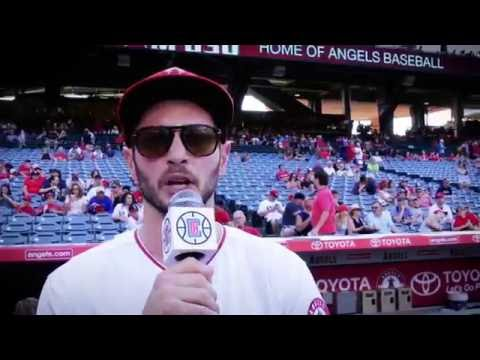 J.J. Redick First Pitch At Angels Stadium - 7/30/16