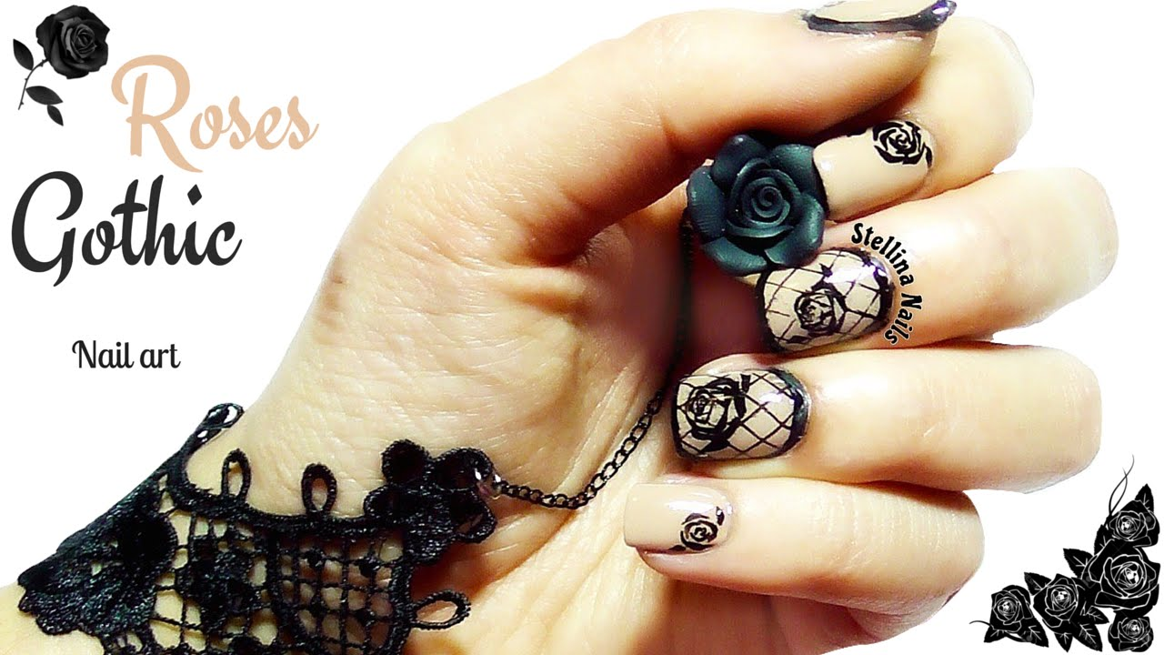 Roses Gothic nail art  |Stellina Nails for ...