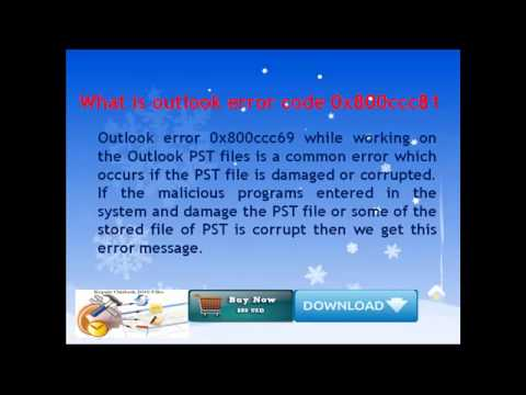 Solve outlook error code 0x800ccc69