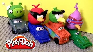 Play Doh Cars Angry Birds Space Mater & Lightning McQueen as Red Bird and Bad Piggies Disney Pixar thumbnail