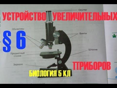 Биология 5 кл § 6 Устройство увеличительных приборов (Автор В.В.Пасечник)