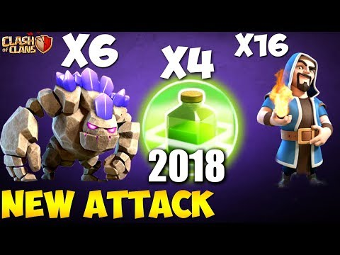 6 GOLEM + Wizards:  HEXAGOLEM NEW TH9 STRONG WAR ATTACK STRATEGY 2018 | Clash of Clans