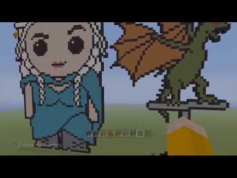 Minecraft Khaleesi Dany S Baby Dragon Game Of Thrones Minecraft Speed Build Pixel Art Youtube