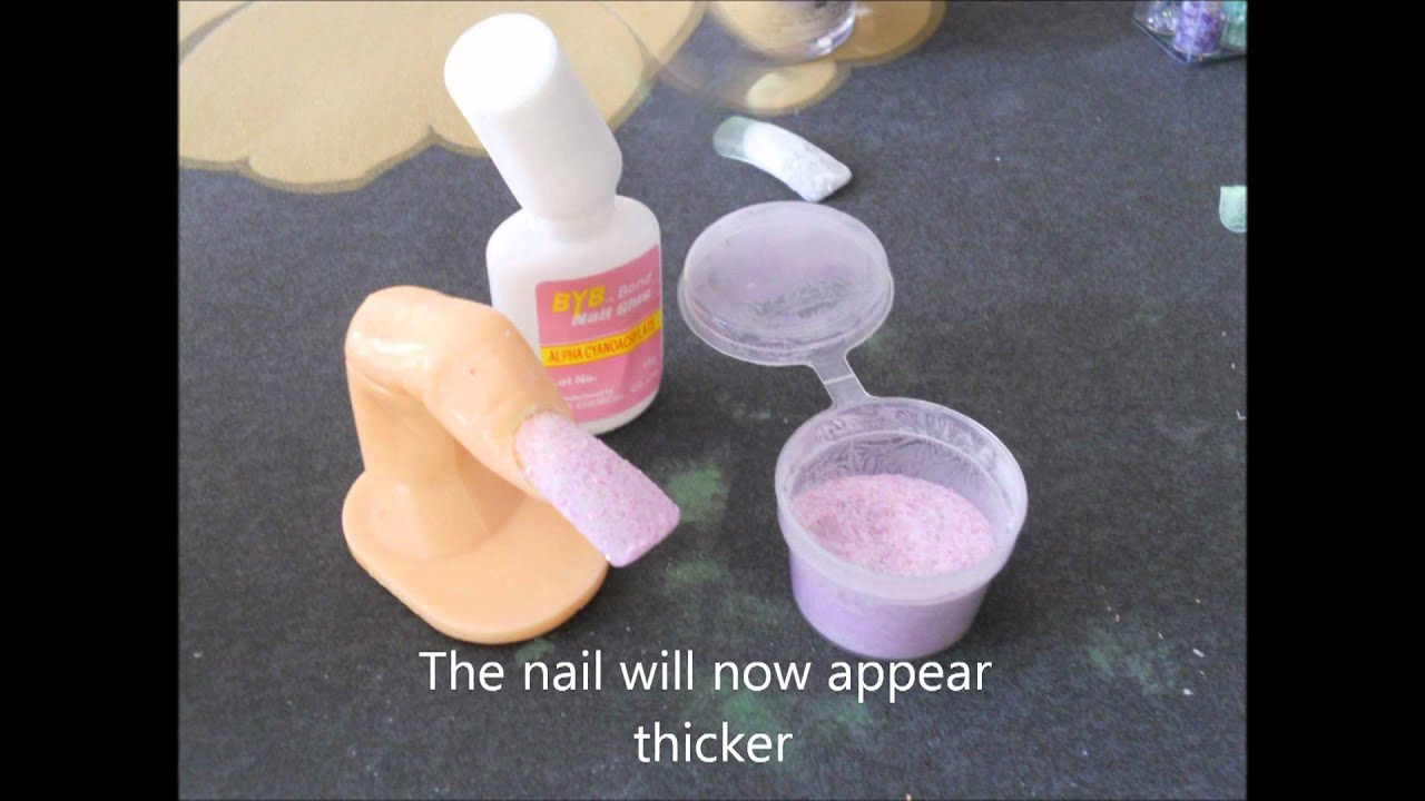 Brush on glue +Acrylic powder Quick nails - YouTube