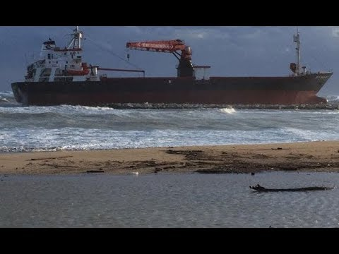 Turkish cargo ship EFE MURAT aground beached  by storm at Bari, Italy