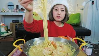 The LAST Shrimp series 3/3 [Sweet Corn Alfredo Shrimp Pasta!!!!!] Mukbang