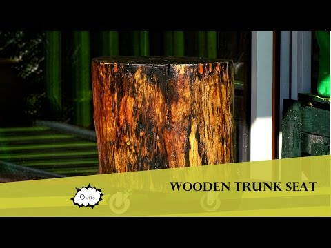 How to make a rustic stool from a wooden trunk - DIY
