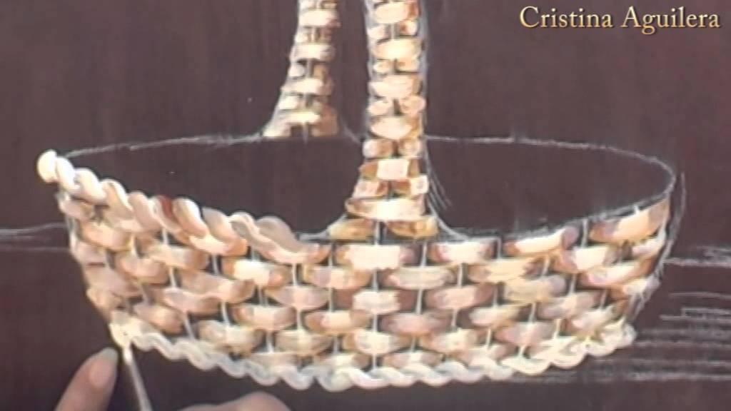 Pintar cesta de mimbre con flores . Paint wicker basket with flowers ...
