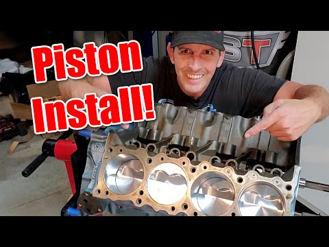 How to install Pistons and Rods, including ring filing.  Pontiac Short Block, part 7