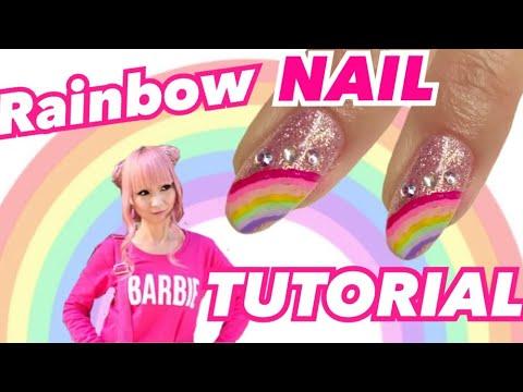 RAINBOW NAIL ART TUTORIAL ♡ GEL NAIL AT HOME thumbnail