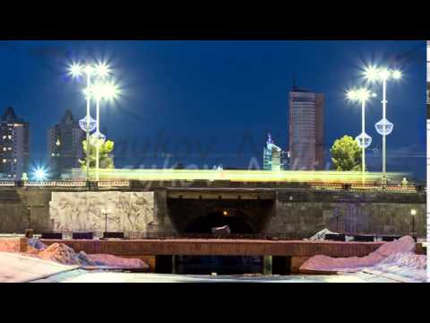 Dam with the Olympic clock, Yekaterinburg. Time Lapse