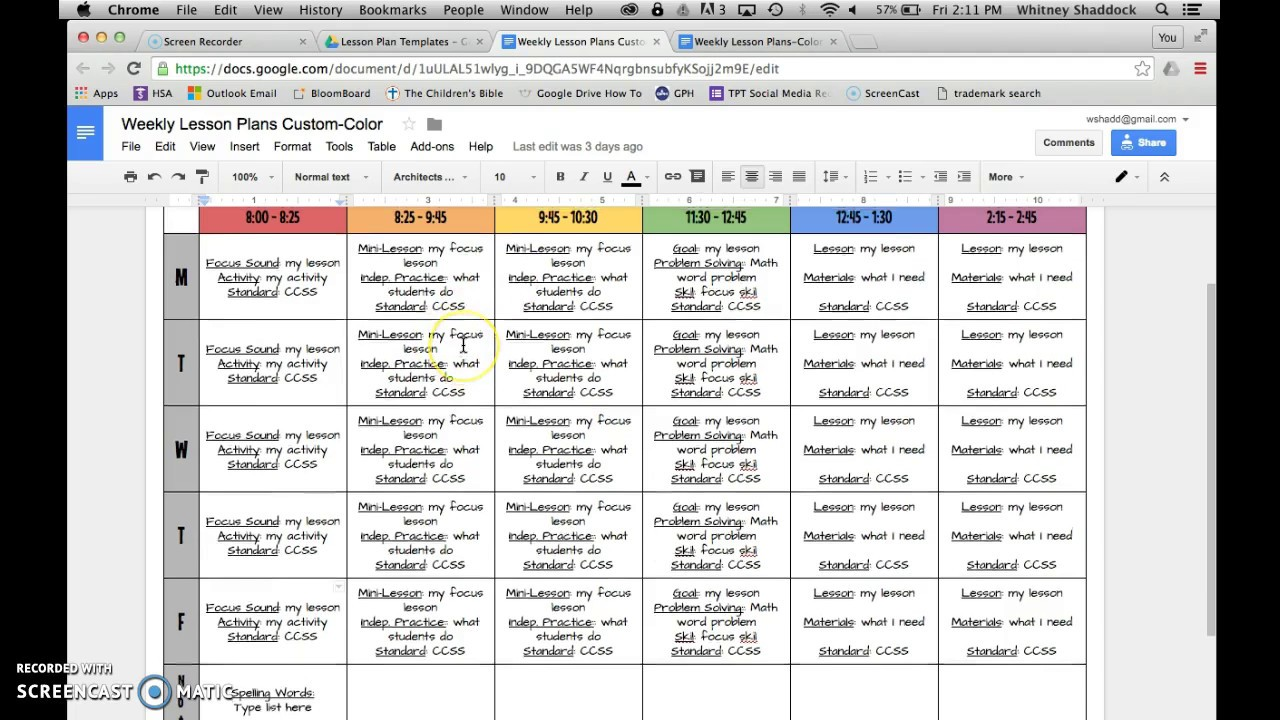Lesson Plan Templates Google Drive