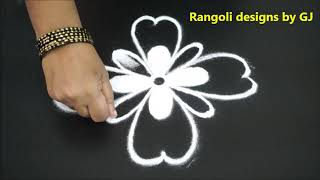 Simple Rangoli with 5X1 Dots * Easy Rangoli * Kolam Designs * Easy & Simple Rangoli * Muggulu