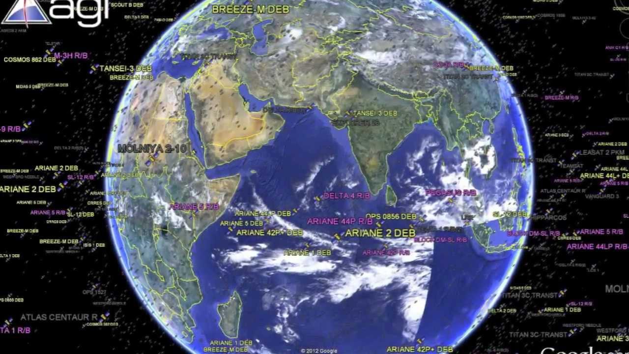 Les Satellites Autour De La Terre Via Google Earth
