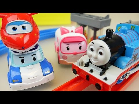 Tomas train and Robocar Poli SuperWings rail toys play