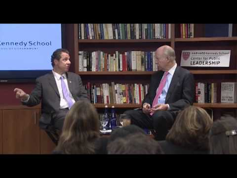 New York Gov. Andrew Cuomobeing interviewed by David Gergen,