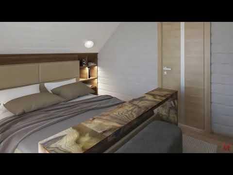 Дизайн спальной комнаты мансардного этажа