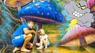 Nastya و papa تتظاهر باللعب في المتنزه متعة اللعب العائلي فيديو للأطفال