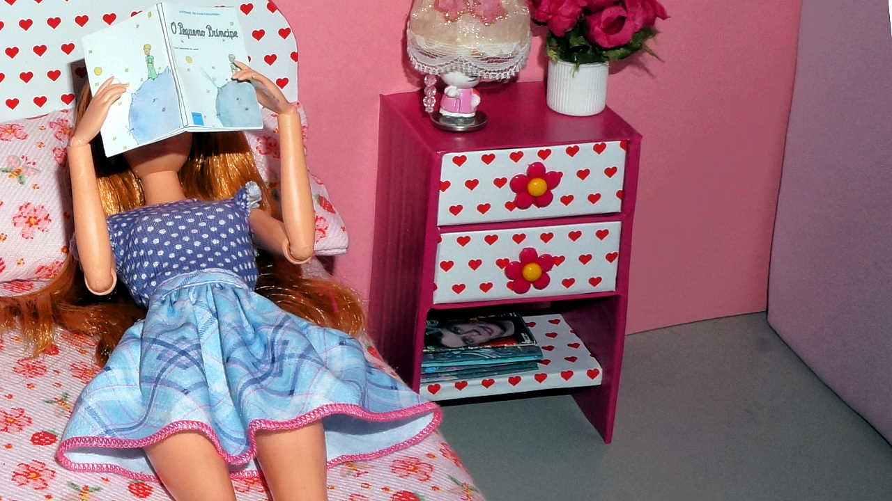 How to make a bedside table or nightstand for dolls miniature