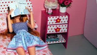 How to make a bedside table or nightstand for dolls - miniature crafts DIY
