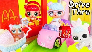 LOL Surprise Dolls Custom Lil Sisters visit McDonalds Drive Thru in Barbie Car