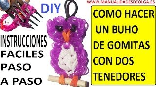Repeat youtube video COMO HACER UN BUHO DE GOMITAS (LIGAS) (OWL CHARMS) CON DOS TENEDORES. TUTORIAL DIY