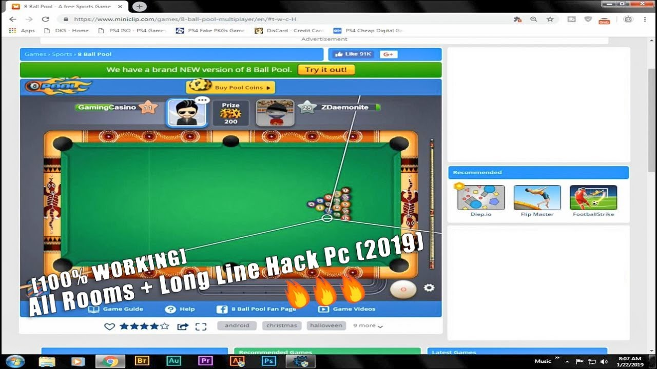 8 Ball Pool Guideline + All Room Hack PC (Updated 2019) -