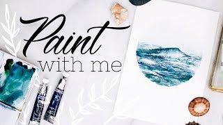 WATERCOLOR WITH ME 🌊 Ocean Waves Painting Tutorial