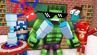 Monster School : SUPERHERO BOTTLE FLIP Challenge - Minecraft Animation