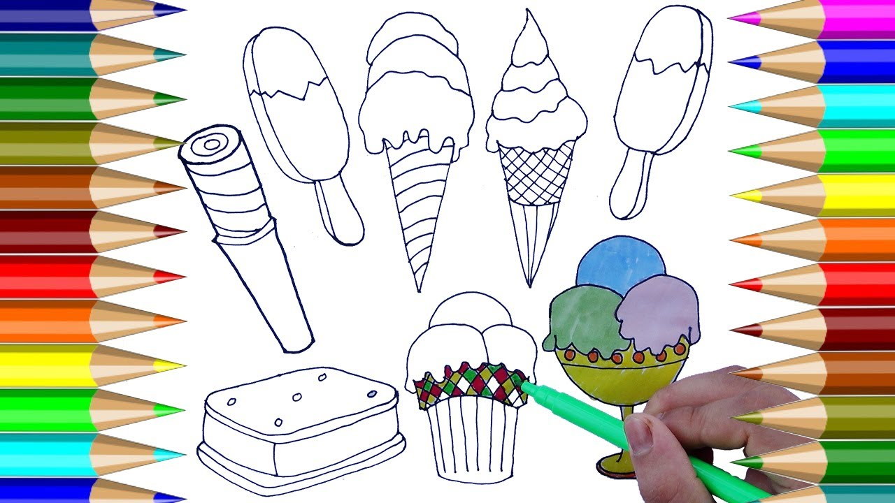 Helado para colorear | Cómo dibujar Helado de colores | Dibujos para ...