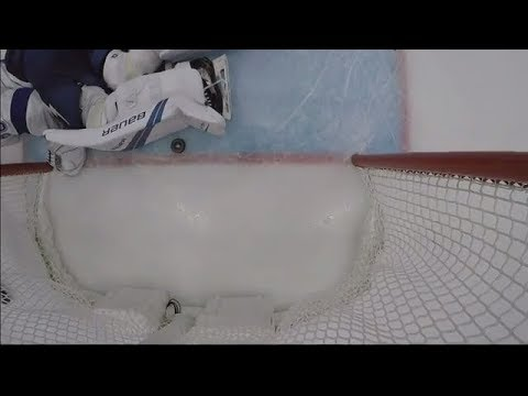 No goal for Ducks, puck likely crosses line but Vasilevskiy's pad is covering it up