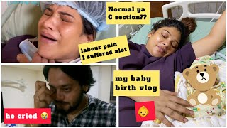 Birth Vlog || My real labour pain 😭& My Baby delivery??so much pain || 👶🤱🏻he cried