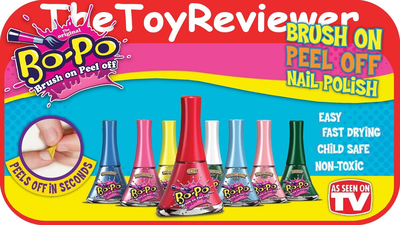 Bo-Po (Brush On Peel Off) 8 Pack Nail Polish Unboxing Toy Review by ...