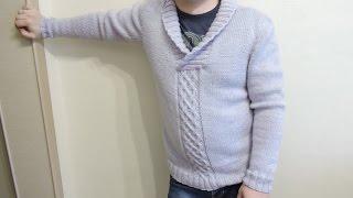 Мужской свитер с большим воротником спицами // Часть 6// Для начинающих