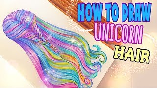 HOW to DRAW - UNICORN HAIR ! 🦄(with PENCILS)