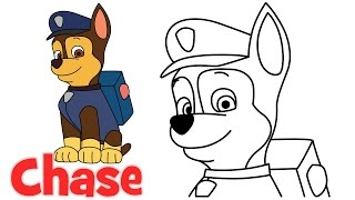 How to draw Chase Paw Patrol characters step by step